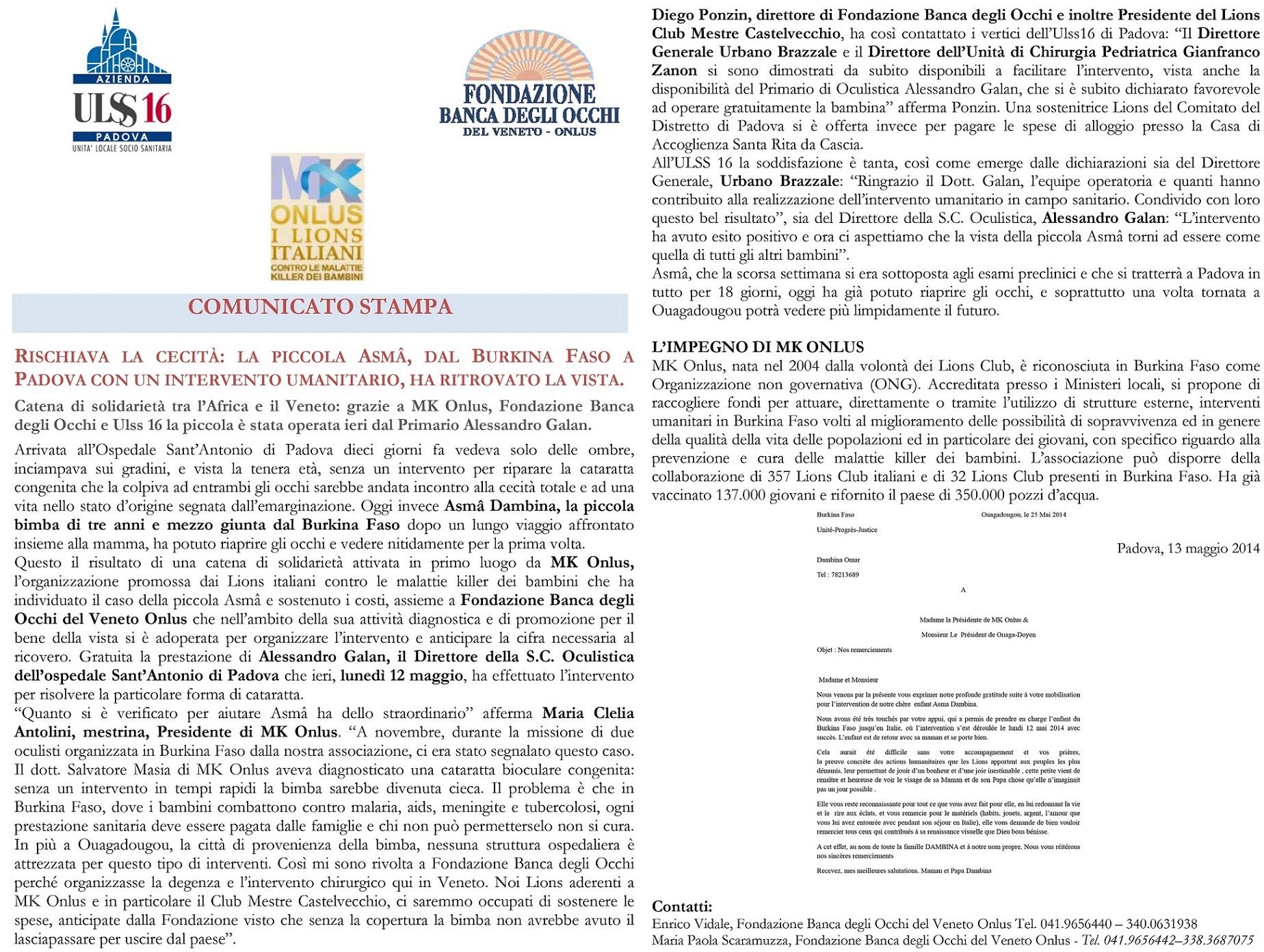 ASMA CS Lions- Intervento umanitario bimba Burkina Faso-1 - Copia