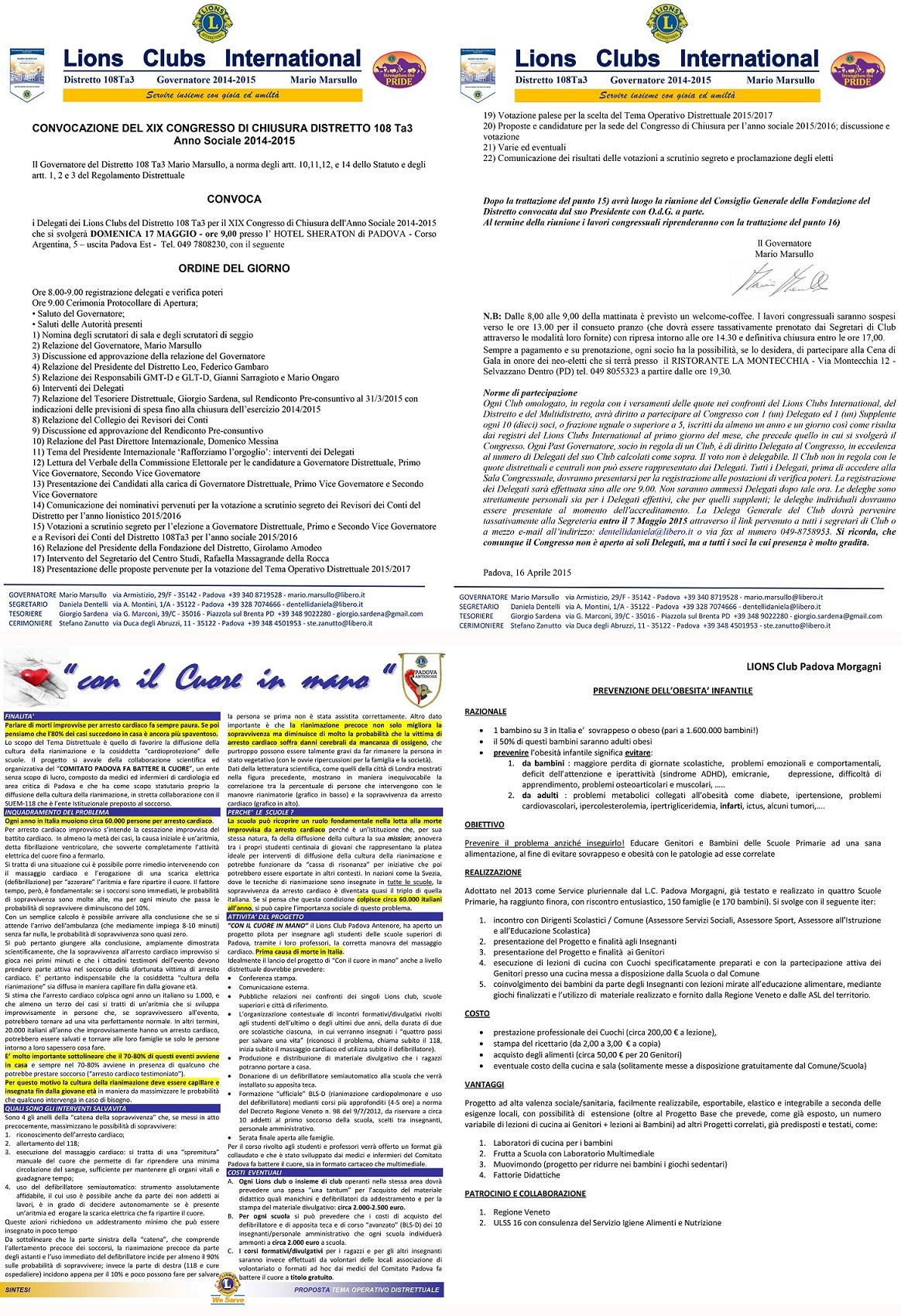 CONGRESSO DI CHIUSURA - CONVOCAZIONE