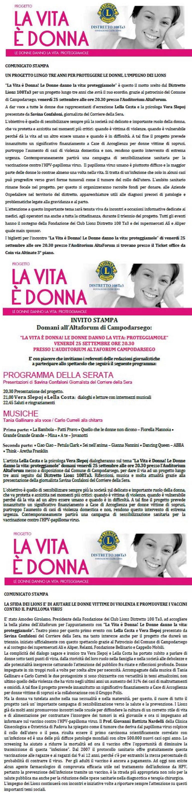 RASSEGNA STAMPA LIONS LA DONNA E VITA .estratto