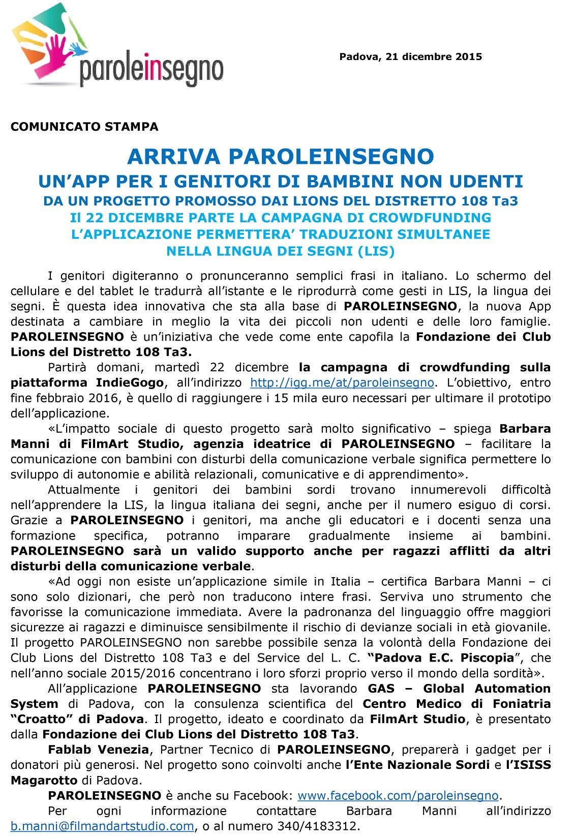 Padova E.C.Piscopia-unapp per tradurre in LIS