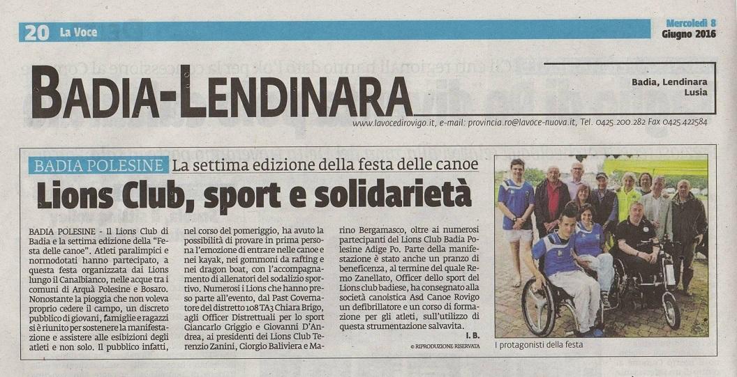 2016-06-10 Sport e Solidarietà articolo